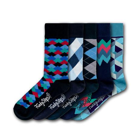 Men's Regular Socks Bundle // Navy + Blue II // 5 Pairs