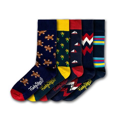 Men's Regular Socks Bundle // Navy + Multicolor // 5 Pairs