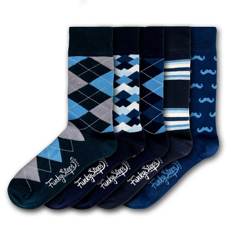 Men's Regular Socks Bundle // Navy + Blue I // 5 Pairs