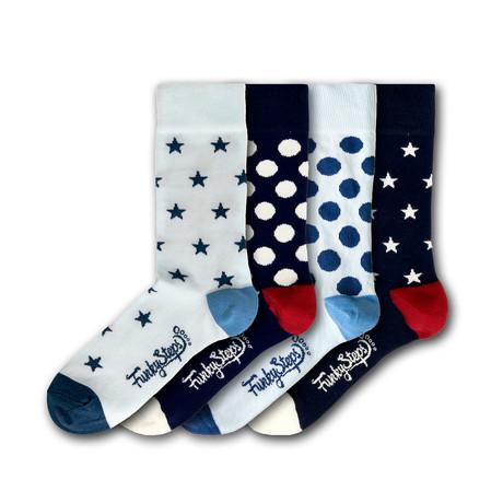 Men's Regular Socks Bundle // White + Navy // 4 Pairs