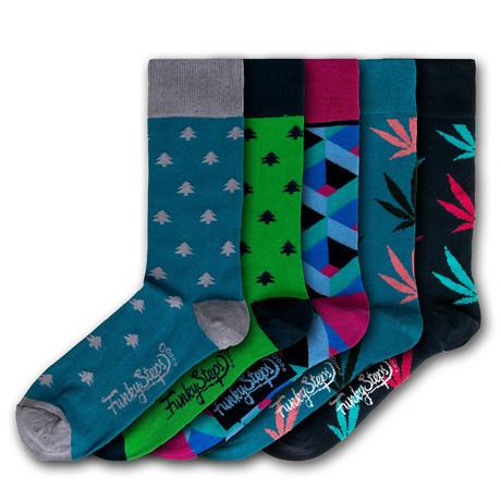 Men's Regular Socks Bundle // Blue + Green // 5 Pairs