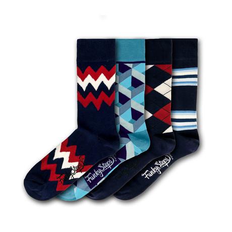 Men's Regular Socks Bundle // Navy + Blue // 4 Pairs