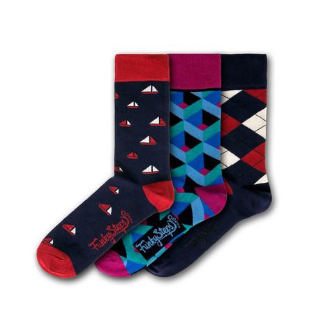 Men's Regular Socks Bundle // Navy + Multicolor // 3 Pairs