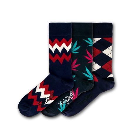 Men's Regular Socks Bundle // Navy + Red + White I // 3 Pairs