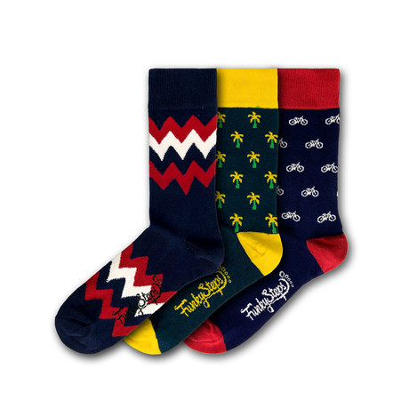 Men's Regular Socks Bundle // Navy + Red + Yellow // 3 Pairs