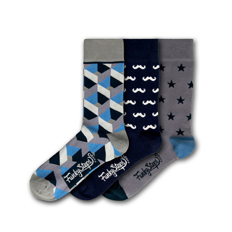 Men's Regular Socks Bundle // Gray + Navy + Blue // 3 Pairs