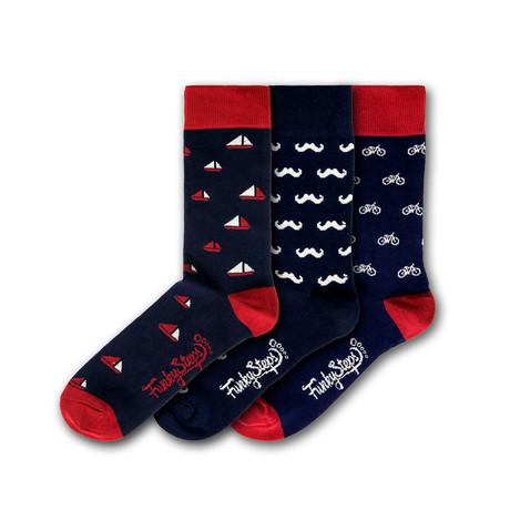 Men's Regular Socks Bundle // Navy + Red II // 3 Pairs