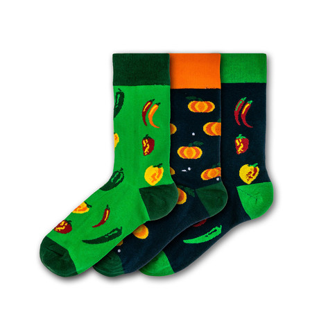 Men's Veggies Regular Socks Bundle // Green + Orange + Black // 3 Pairs