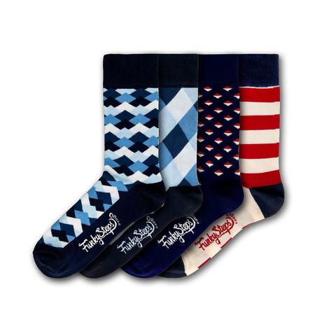 Men's Regular Socks Bundle // Navy + Blue + Red // 4 Pairs