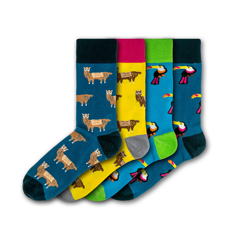Men's Animals Regular Socks Bundle // Black + Blue + Yellow + Green // 4 Pairs