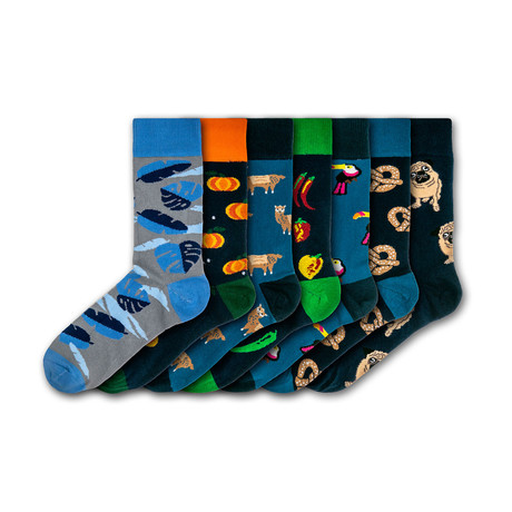 Men's Regular Socks Bundle // Blue + Orange + Black + Green // 7 Pairs