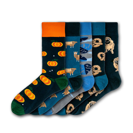Men's Regular Socks Bundle // Orange + Black + Blue // 5 Pairs