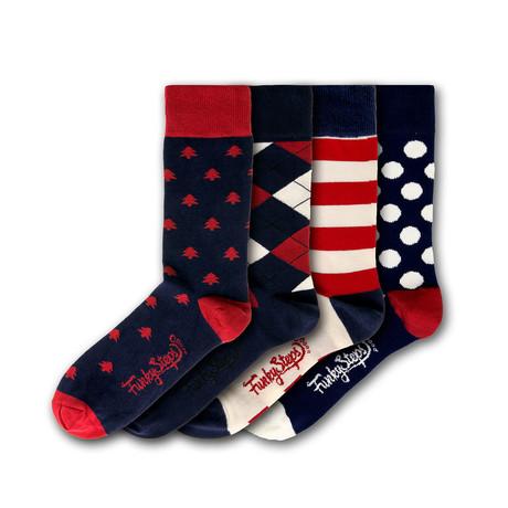 Men's Regular Socks Bundle // Navy + Red + White // 4 Pairs