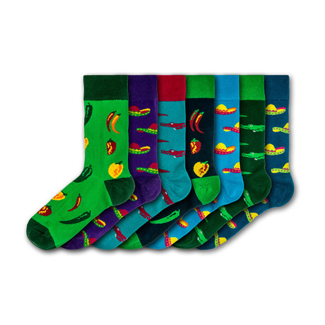 Men's Regular Socks Bundle // Green + Blue + Red // 7 Pairs