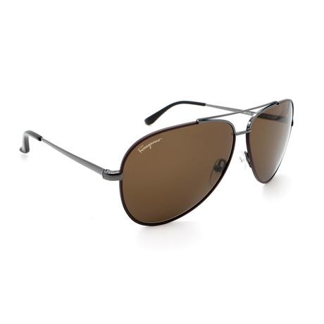 Unisex SF131S-067 Aviator Sunglasses // Shiny Gunmetal + Dark Brown