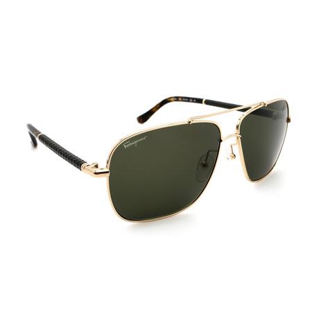 Unisex SF145SL-717 Aviator Square Sunglasses // Gold + Black