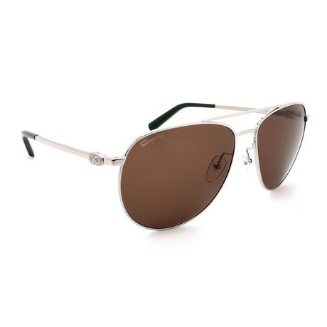 Unisex SF157S-45 Aviator Polarized Sunglasses // Silver + Brown