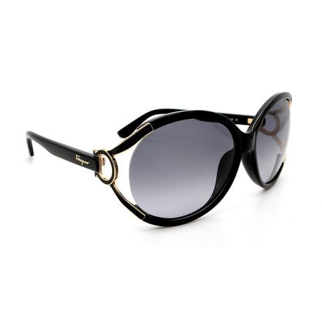 Women's SF600S-001 Round Sunglasses // Black + Gold