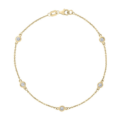 Estate 14k Yellow Gold Diamond by the Yard Bracelet // Pre-Owned