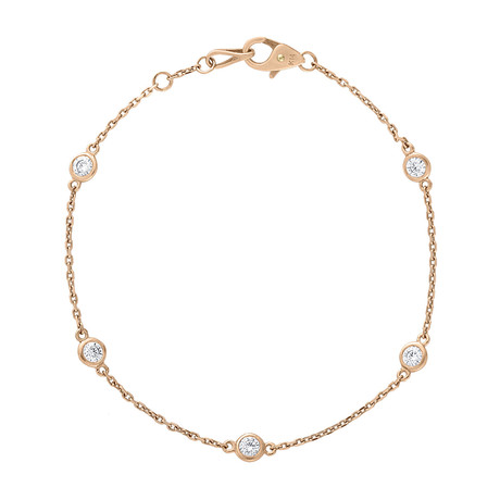 Estate 14k Rose Gold Diamond by the Yard Bracelet // Pre-Owned