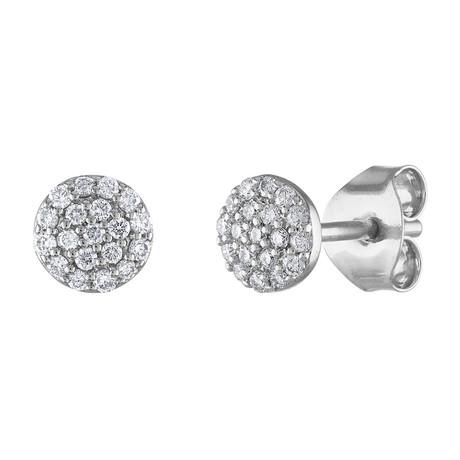 Tresorra 18k White Gold Diamond Cluster Earrings // Pre-Owned