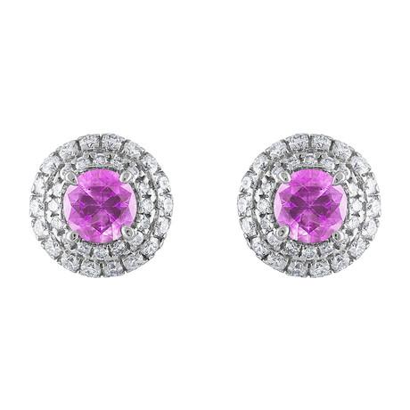 Estate 18k White Gold Diamond + Pink Sapphire Earrings // Pre-Owned