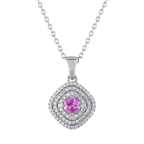 Tresorra 18k White Gold Diamond + Pink Sapphire Necklace // Pre-Owned