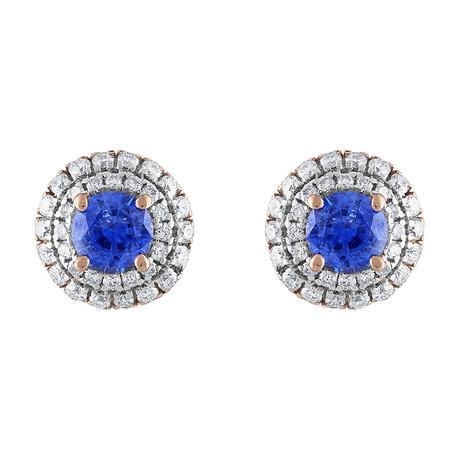 Estate 18k Rose Gold Diamond + Blue Sapphire Earrings // Pre-Owned