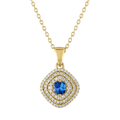 Estate 18k Yellow Gold Blue Sapphire Necklace // Pre-Owned