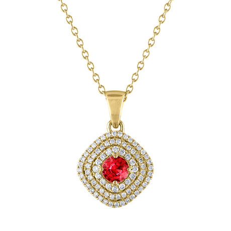 Estate 18k Yellow Gold Blue Ruby Necklace // Pre-Owned