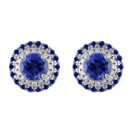 Estate 18k White Gold Diamond + Blue Sapphire Earrings II // Pre-Owned