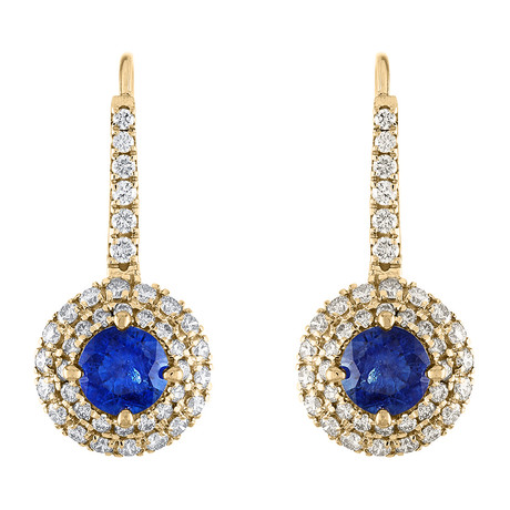 Estate 18k Yellow Gold Diamond + Blue Sapphire Drop Earrings // Pre-Owned