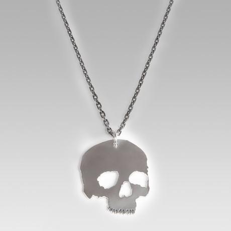 "Flat Skull Head // Sterling Silver // 23.6"" Chain"