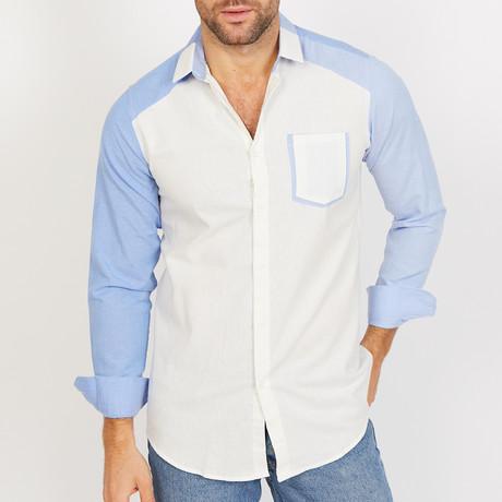 Robert Stripe Long Sleeve Button-Up Shirt // White + Blue (Small)
