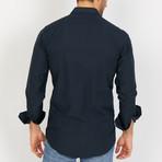 Owen Textured Long Sleeve Button-Up Shirt // Dark Royal Blue (Large)