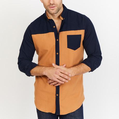 Charles Long Sleeve Button-Up Shirt // Tan + Black (Small)