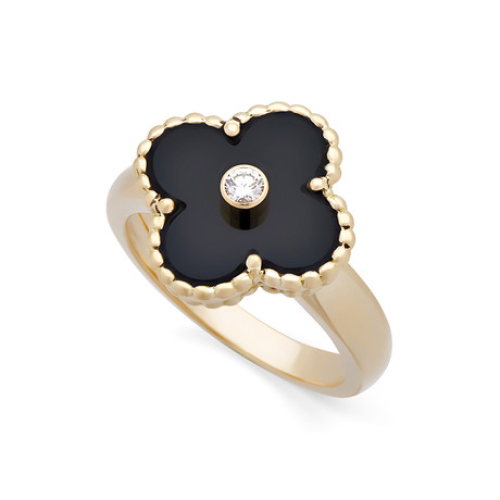 Van Cleef & Arpels 18k Yellow Gold Alhambra Diamond + Onyx Ring // Ring Size: 6 // Pre-Owned