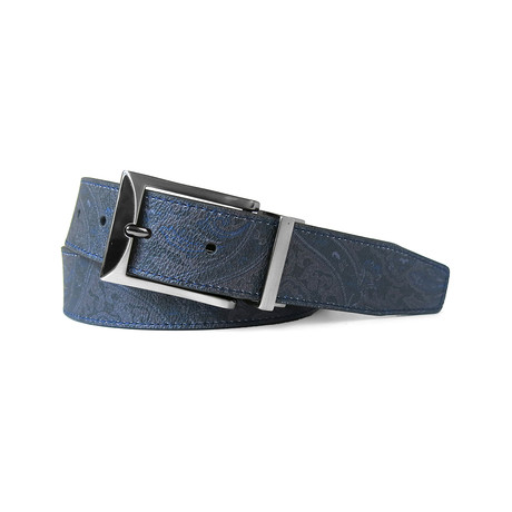 Paisley Printed Reversible Belt // Navy + Black (32)
