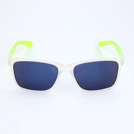 Men's Sunglasses // Matte Crystal Clear + Green