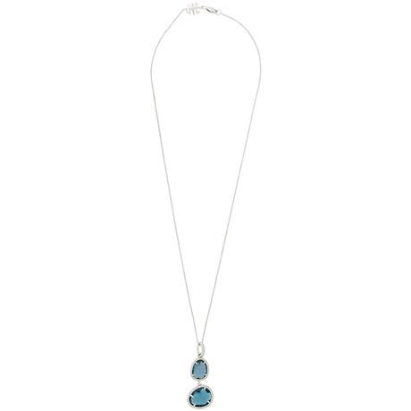 Mimi Milano 18k White Gold Diamond + London Blue Topaz Pendant Necklace III