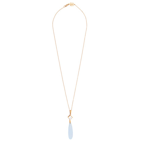 Mimi Milano 18k Rose Gold Chalcedony + Rock Crystal Necklace