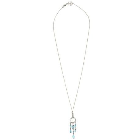 Mimi Milano 18k White Gold London Blue Topaz + Diamond Pendant Necklace