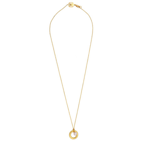 Mimi Milano 18k Yellow Gold Pink Cultured Freshwater Pearl Pendant Necklace