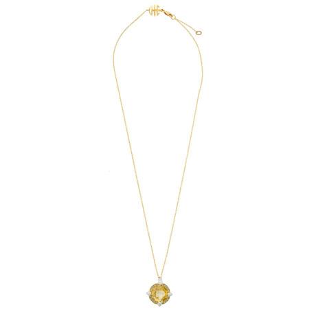 Mimi Milano 18k Two-Tone Gold Citrine + Diamond Pendant Necklace