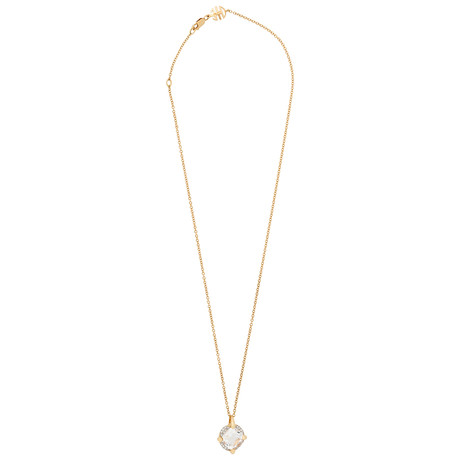 Mimi Milano 18k Two-Tone Gold Diamond + Rock Crystal Pendant Necklace