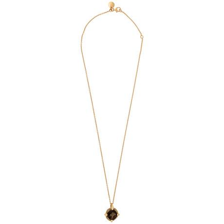 Mimi Milano 18k Rose Gold Smoky Quartz + Cognac Diamond Pendant Necklace