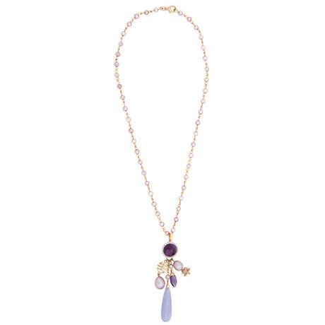 Mimi Milano 18k Rose Gold Multi-Stone Pendant Necklace I