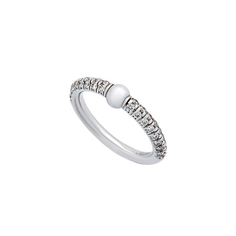 Mimi Milano 18k White Gold White Cultured Freshwater Pearl + Diamond Ring // Ring Size: 6.25
