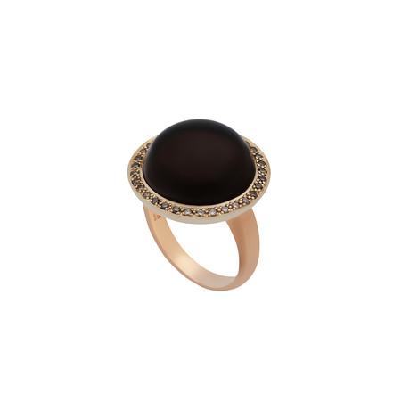 Mimi Milano 18k Two-Tone Gold Smoky Quartz + Diamond // Ring Size: 7