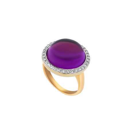 Mimi Milano 18k Two-Tone Gold Amethyst + Diamond Ring // Ring Size: 7.75